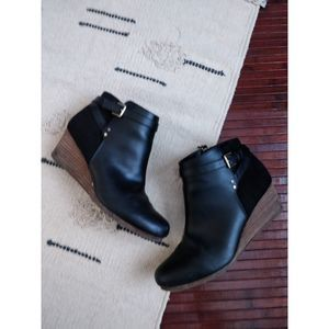 Dr. Scholl's Black Leather Wedge Booties 10 (40)
